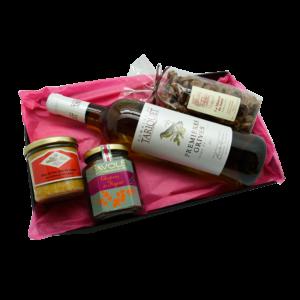 Colis cadeaux Maison Reignier composé d'une bouteille de blanc et de produits du terroir