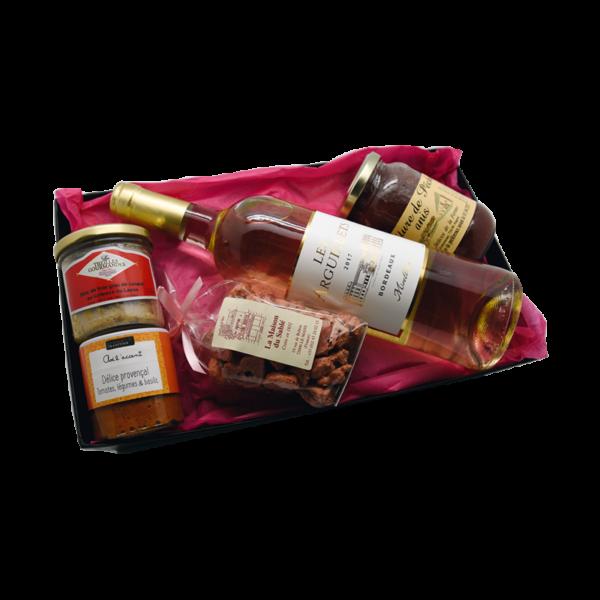 Coffret cadeaux Maison Reignier composé d'une bouteille de blanc et de produits du terroir