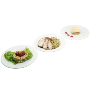 Plateau repas Le Mans - Salade de blé, Poulet, pâtes citron, poêlée de légumes du soleil au pesto, Carré croustillant aux fruits jaunes