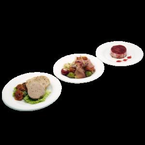 Plateau repas Le Mans - Mousseron de canard au porto, Mini brochette antipasti, Bavarois fruits rouges