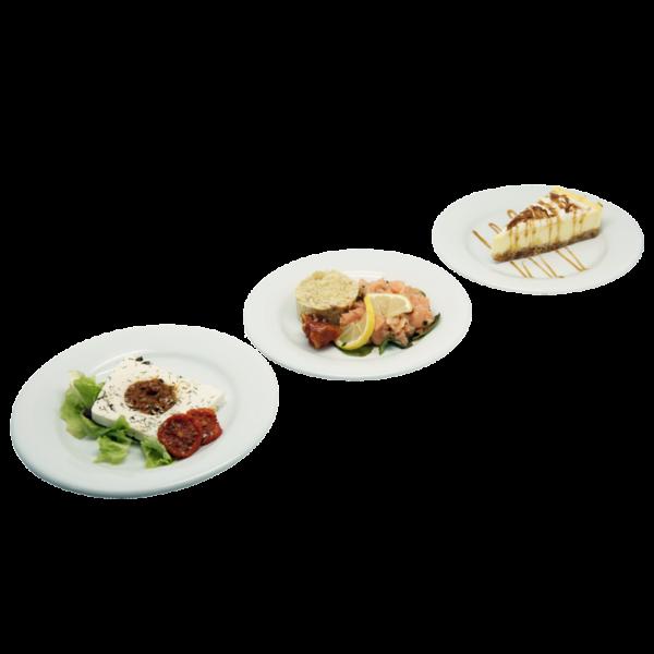 Plateau repas Le Mans - Terrine au fromage de chèvre, Tartare de saumon assaisonné, Cheesecake citron meringué